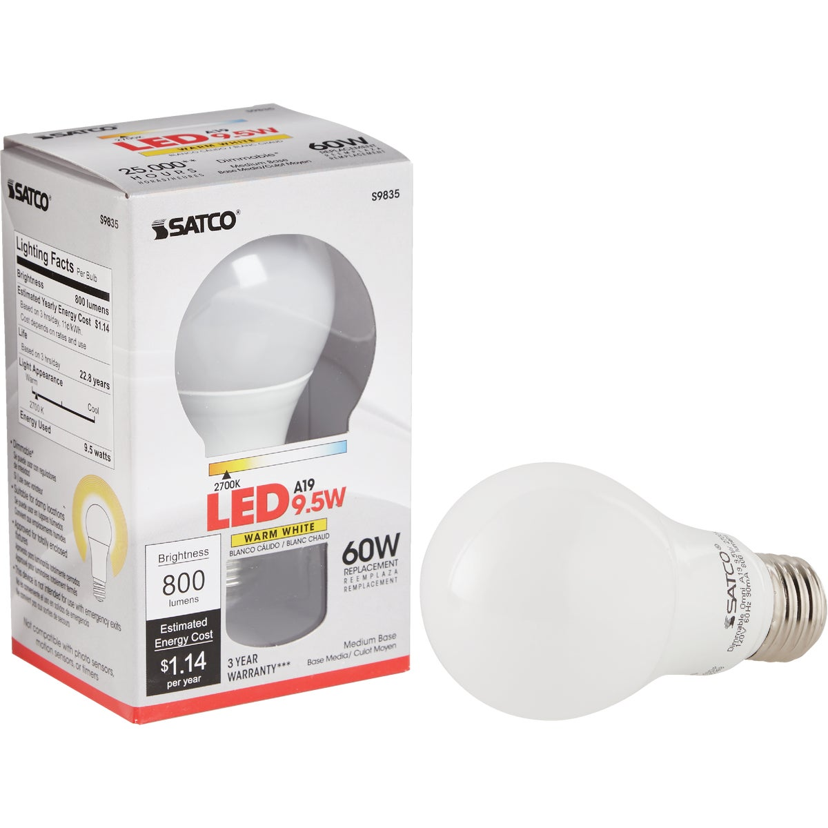 11W 27K LED A19 BULB - RLAS11W27K by TCP