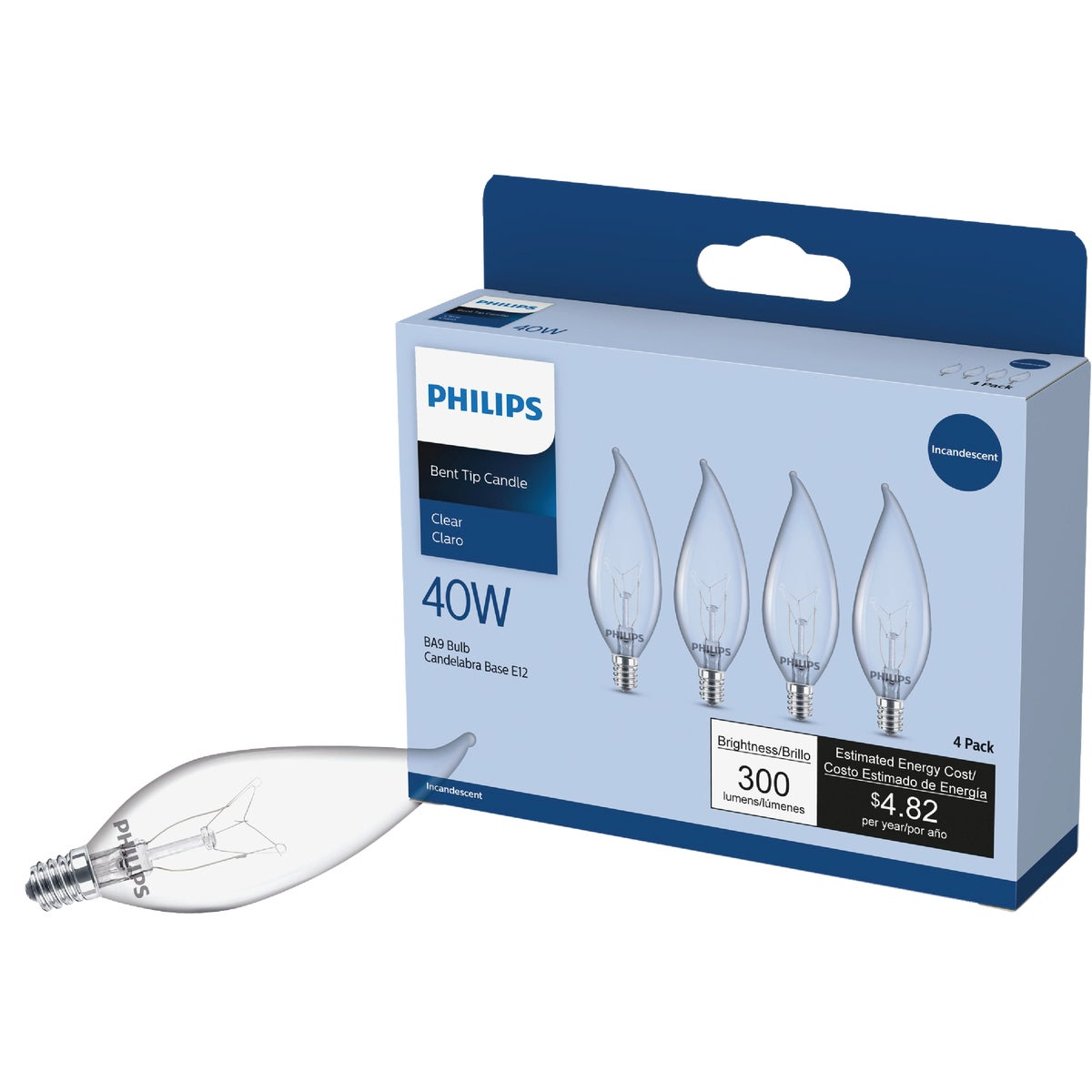 40W BENT TIP 6PK BULB - 75224 by G E Lighting