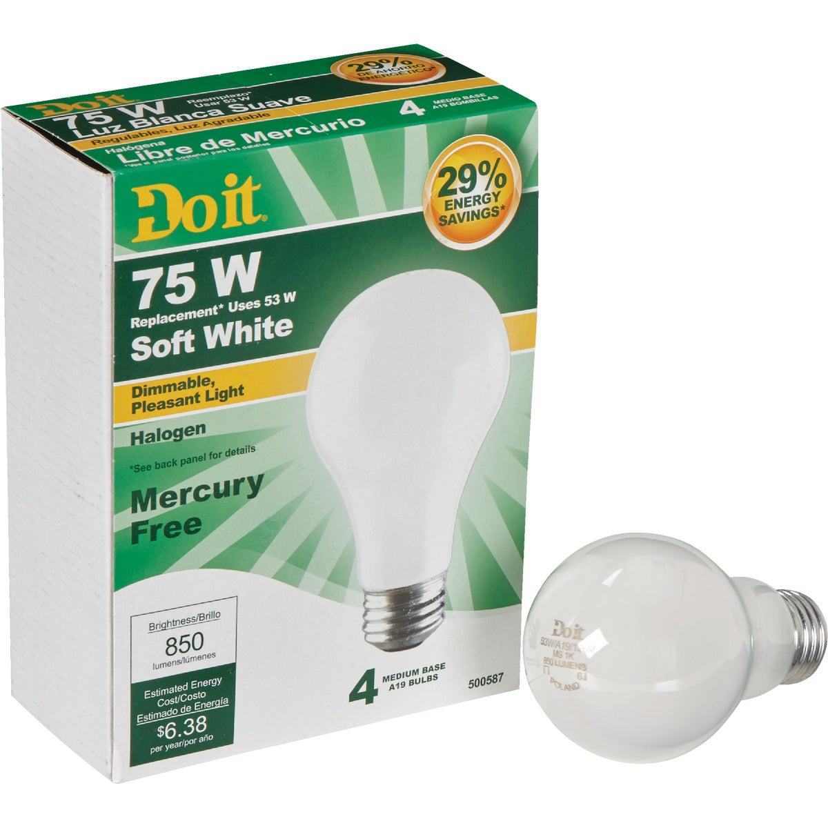 53W 4PK SOFT WHITE BULB - 90859 by G E Private Label