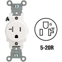 Leviton Commercial Grade Tamper Resistant Single Outlet, R52-T5020-0WS