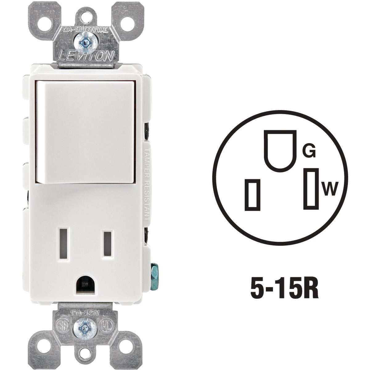 WHT 15A TAMP SWTC/OUTLET - R62-T5625-0WS by Leviton Mfg Co