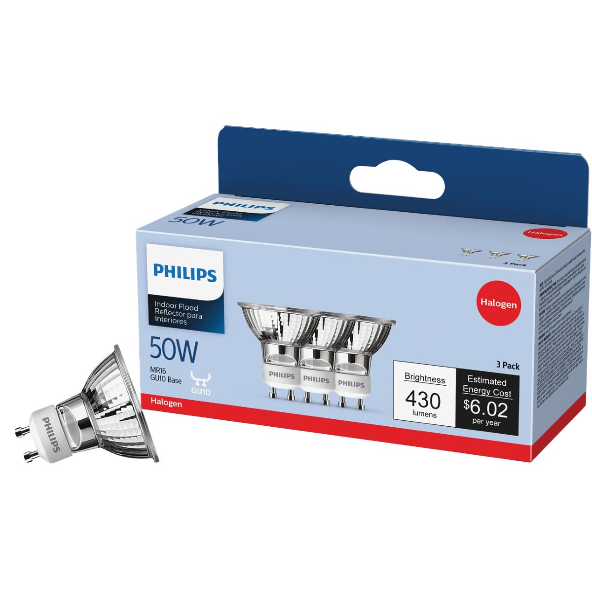 50W MR16 HAL FL 3PK BULB - 81662 Q50GU10/FL/CD3 by G E Lighting