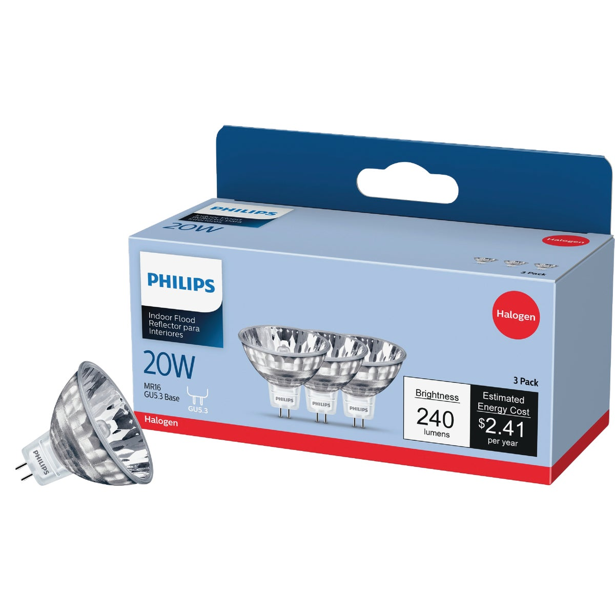 20W 3PK MR16 BULB - 85289 Q20MR16/FL/PQ3/6 by G E Lighting