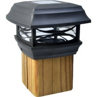 Blk Solar Post Cap Light