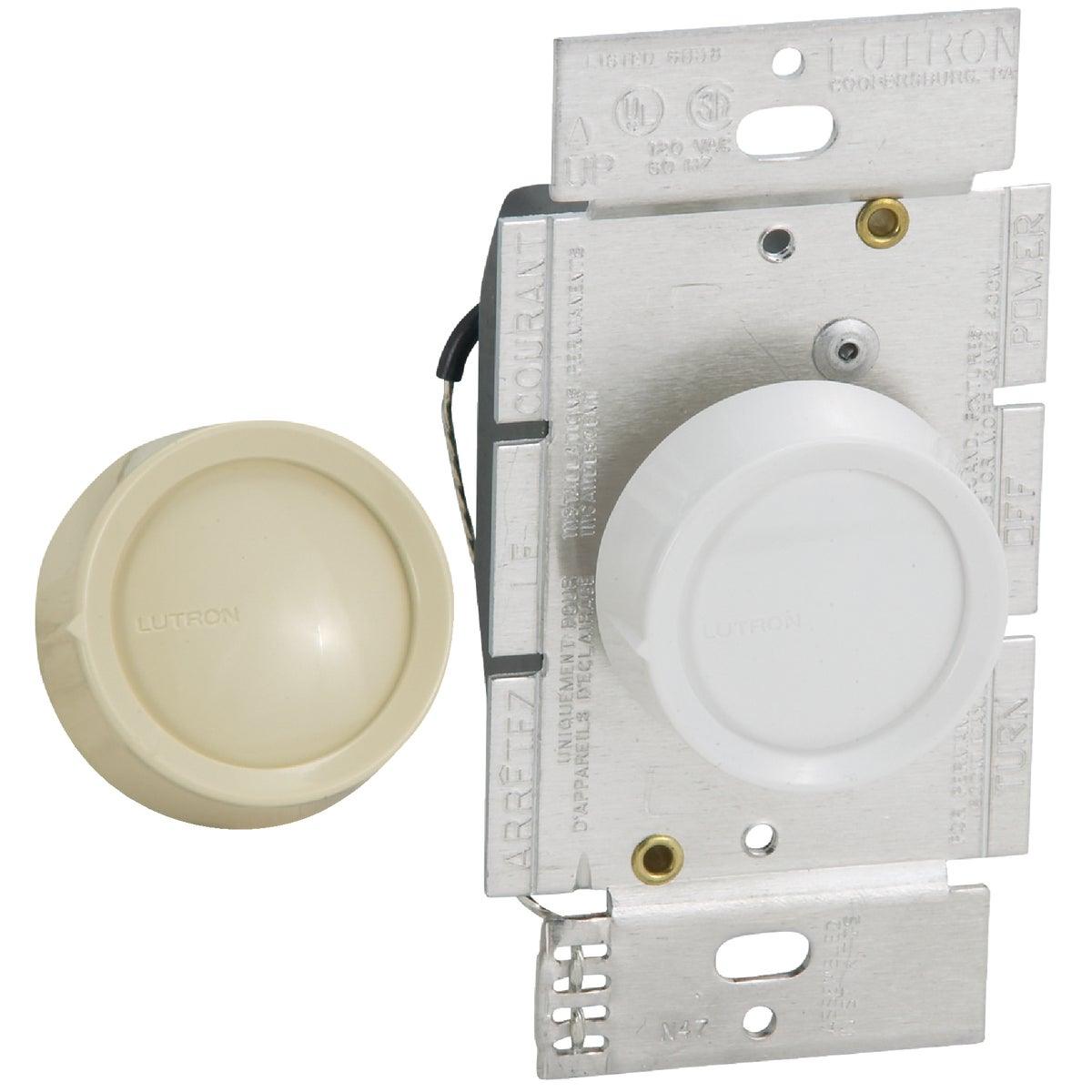 WHT/IV ROTARY DIMMER - D-600RH-DK by Lutron Elect Co Inc