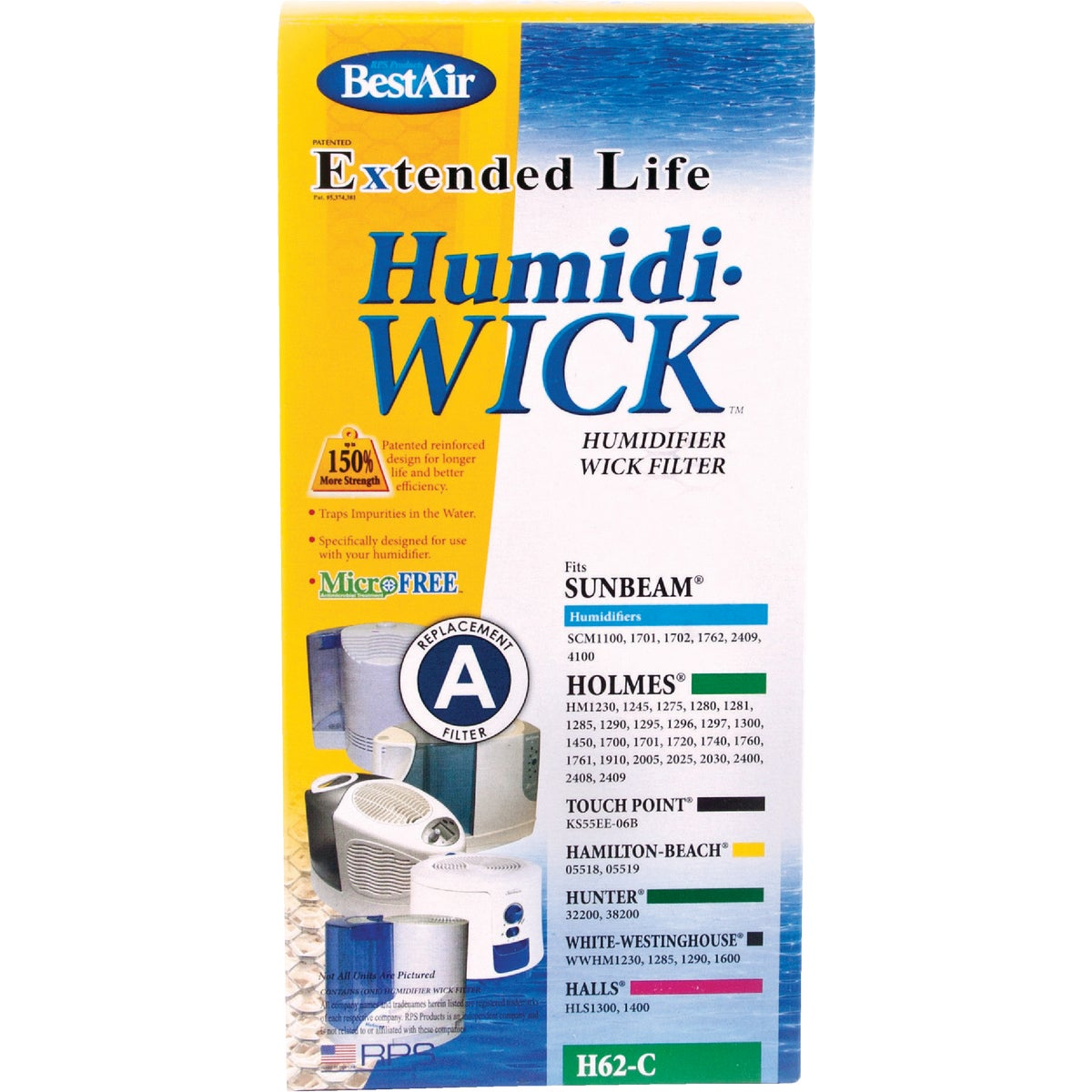 HUMIDIFIER WICK FILTER - H62/85 by Rps Products Inc