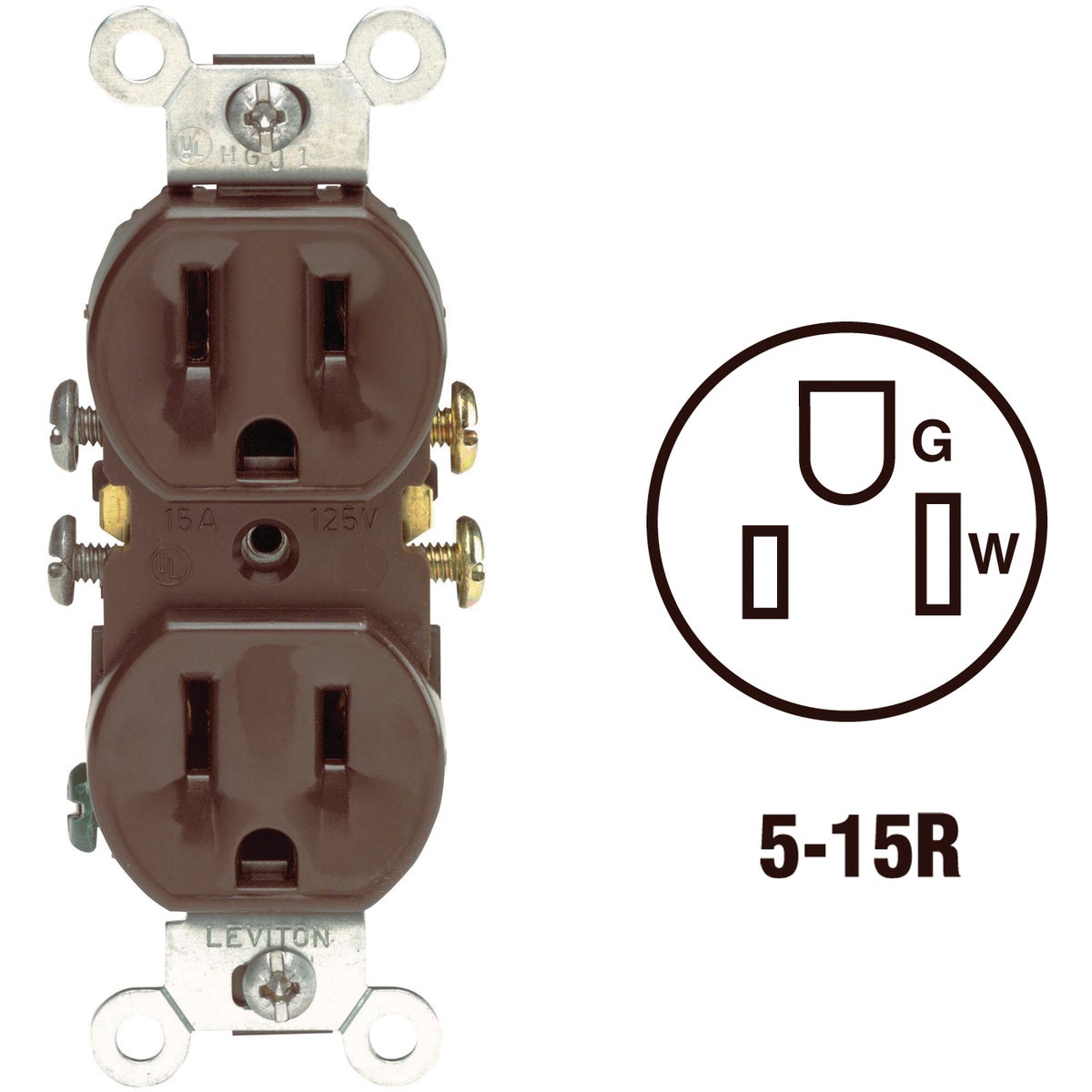 BRN DUPLEX OUTLET - S00-5320-00S by Leviton Mfg Co