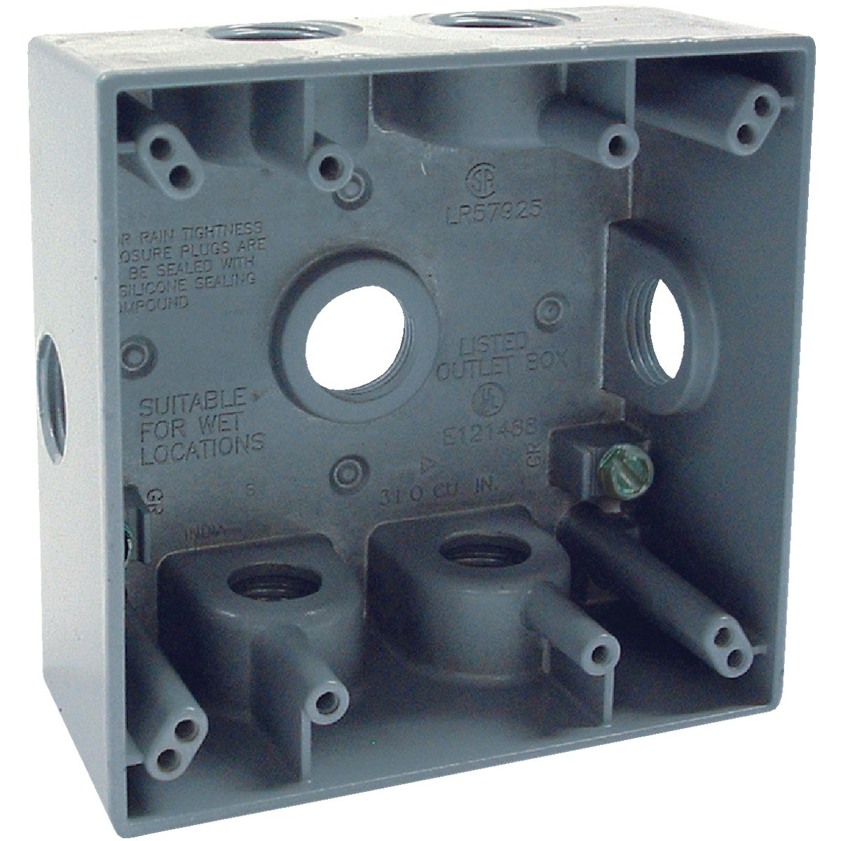 Bell 2-Gang 1/2 In. 7-Outlet Gray Aluminum Electrical Outdoor Outlet Box