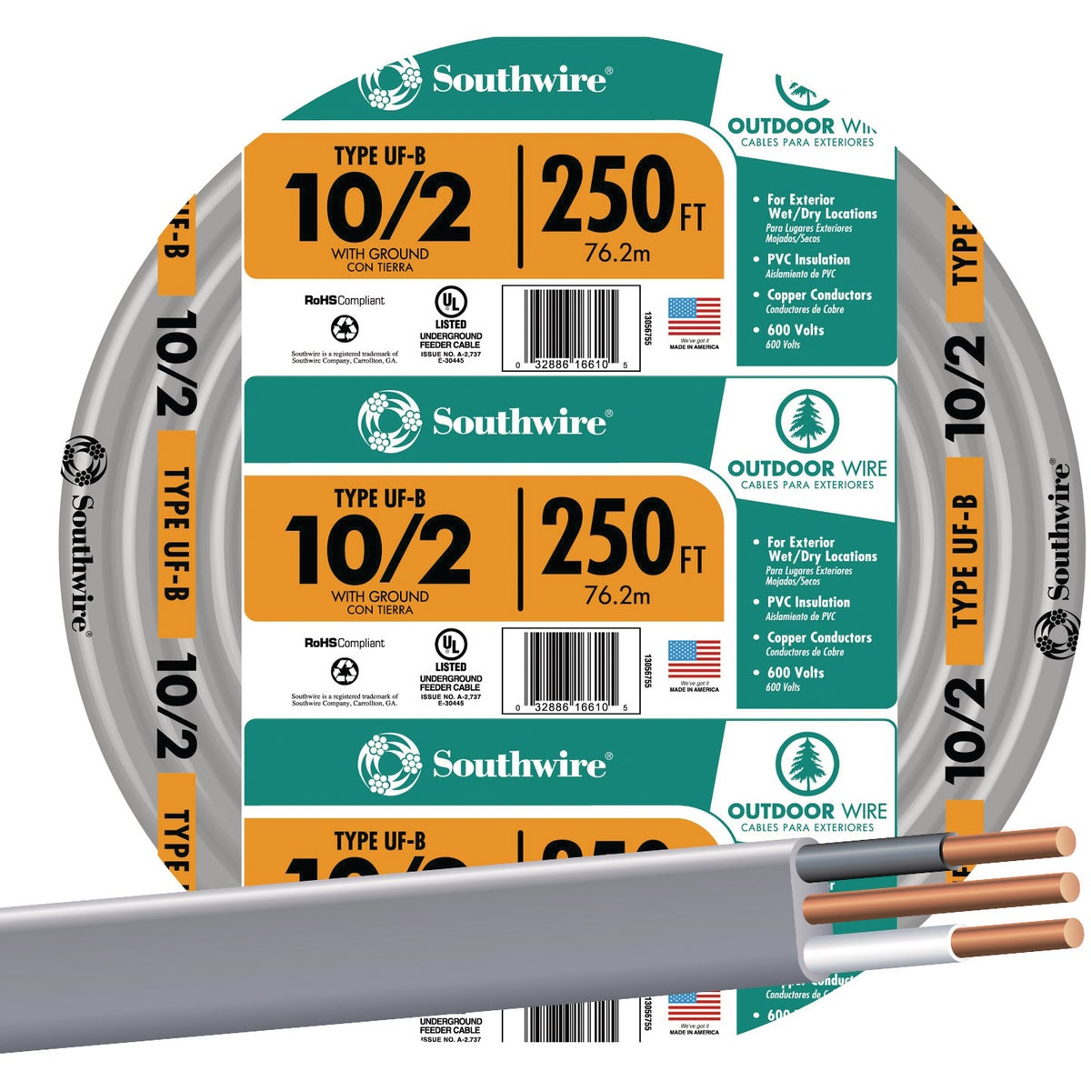 250' 10-2 UFW/G WIRE - 13056755 by Southwire Company