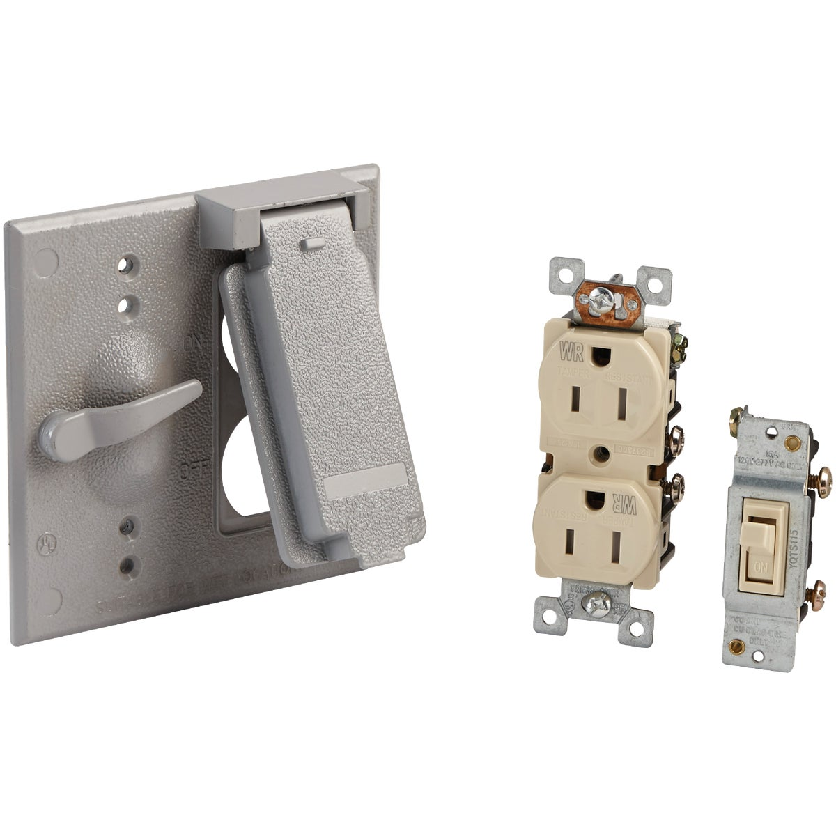 Bell 2-Gang Vertical Mount Die-Cast Metal Gray Outdoor Outlet Cover