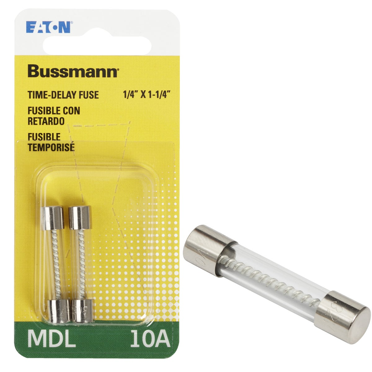 Bussmann 10A MDL Glass Tube Electronic Fuse (2-Pack)