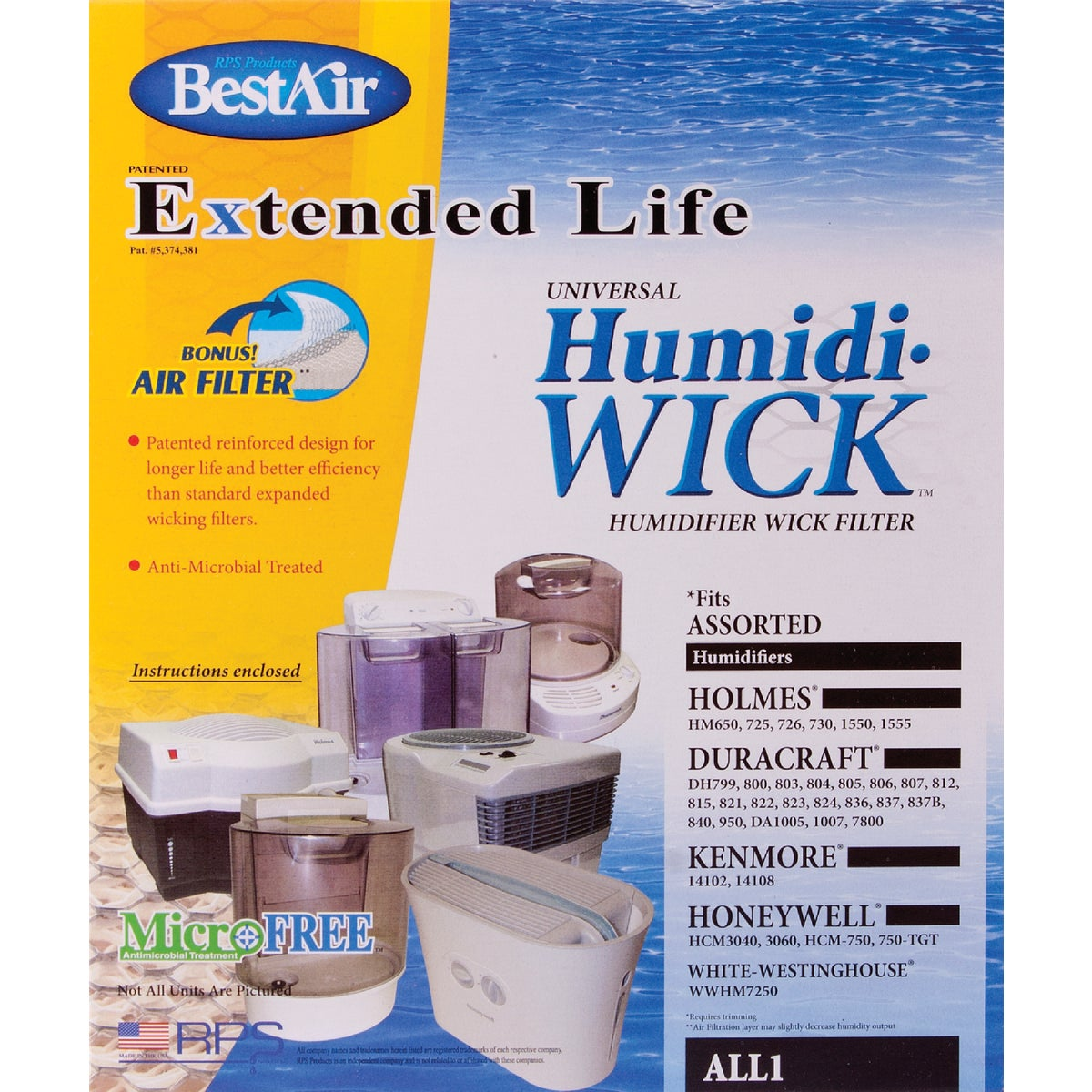 HUMIDIFIER WICK FILTER - ALL-1 by Rps Products Inc