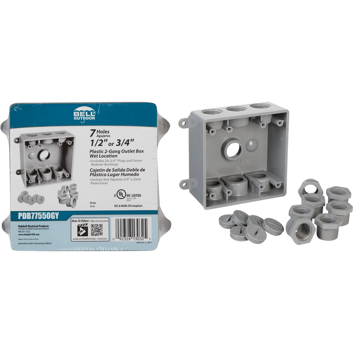 Bell 2-Gang 1/2 In.,3/4 In. 7-Outlet Gray PVC Weatherproof Outdoor Outlet Box