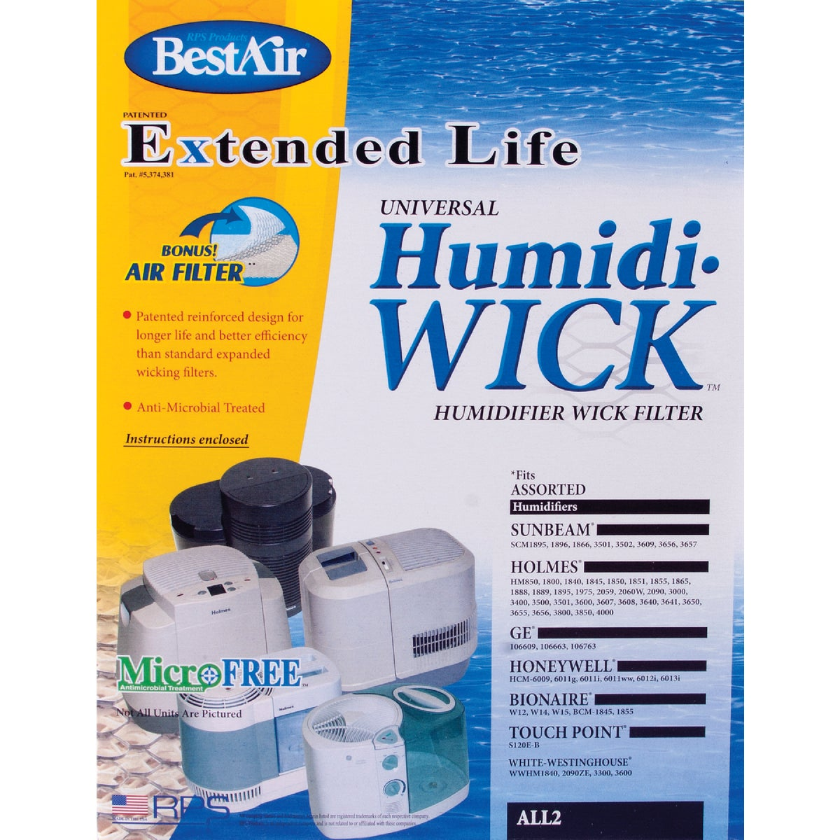HUMIDIFIER WICK FILTER - ALL-2 by Rps Products Inc