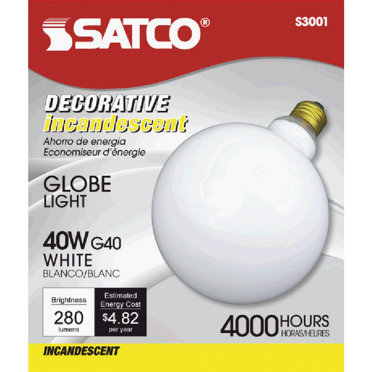 "40W WHT 5"" GLOBE BULB - 36191 by G E Lighting"