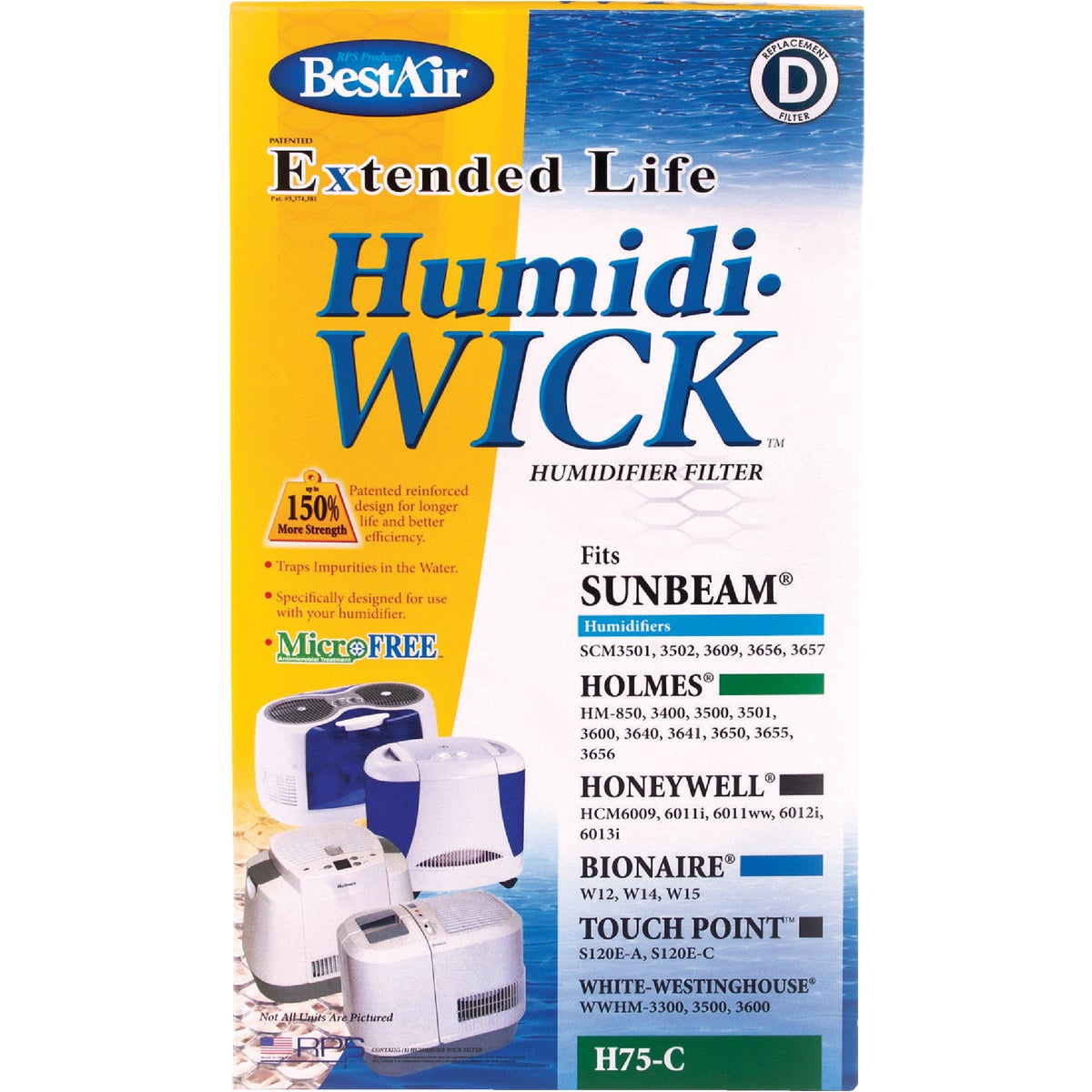 HUMIDIFIER WICK FILTER - H75-C by Rps Products Inc