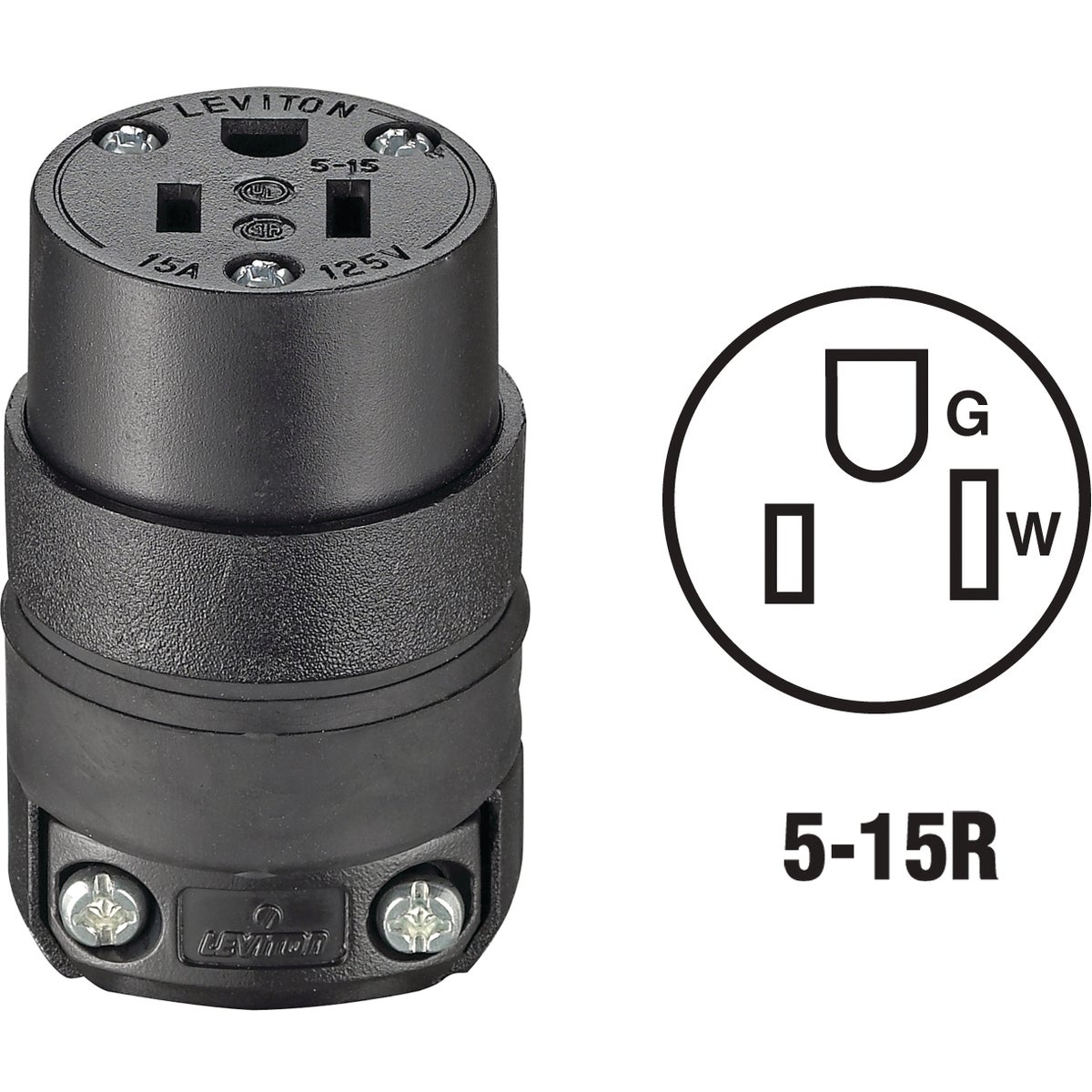 BLK CORD CONNECTOR - 870515CR by Leviton Mfg Co