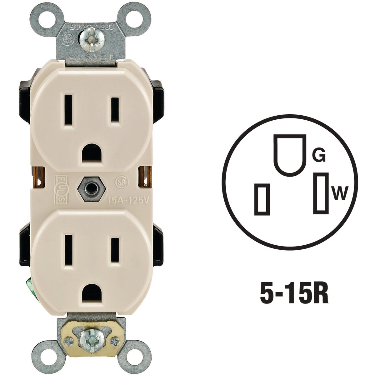 LT ALM DUPLEX OUTLET - R56-05252-OTS by Leviton Mfg Co