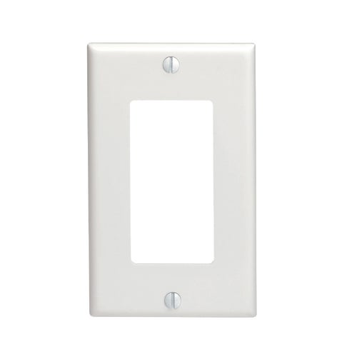 Leviton 80401-NW 1-Gang Decora/GFCI Device Decora Wallplate, Standard Size, T...