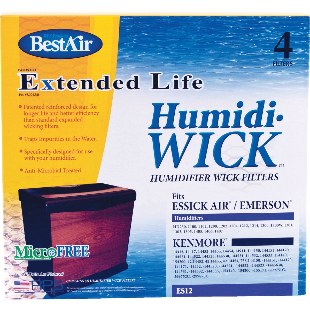 HUMIDIFIER WICK FILTER - ES12 by Rps Products Inc