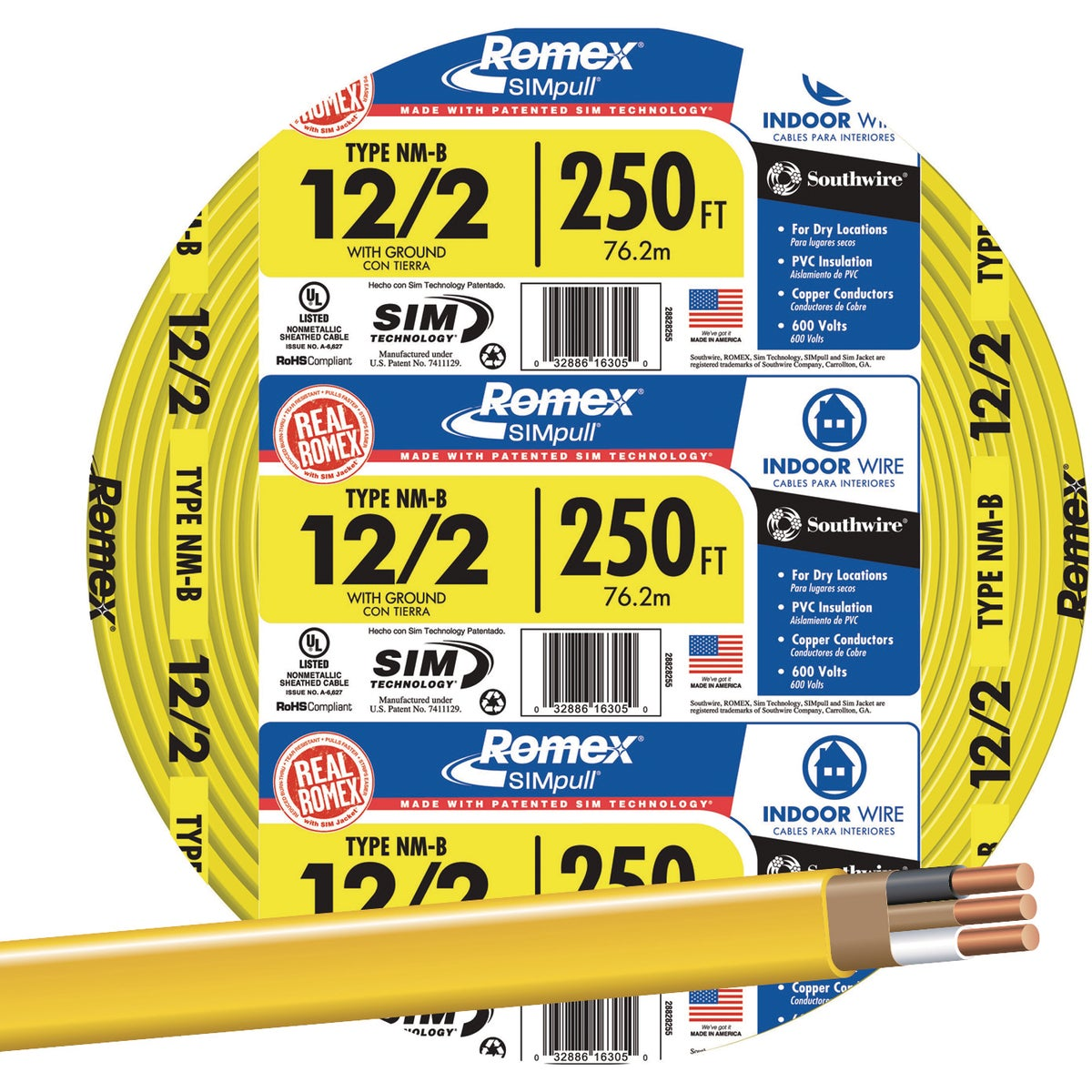 250' 12-2 NMW/G WIRE - 28828255 by Southwire Company