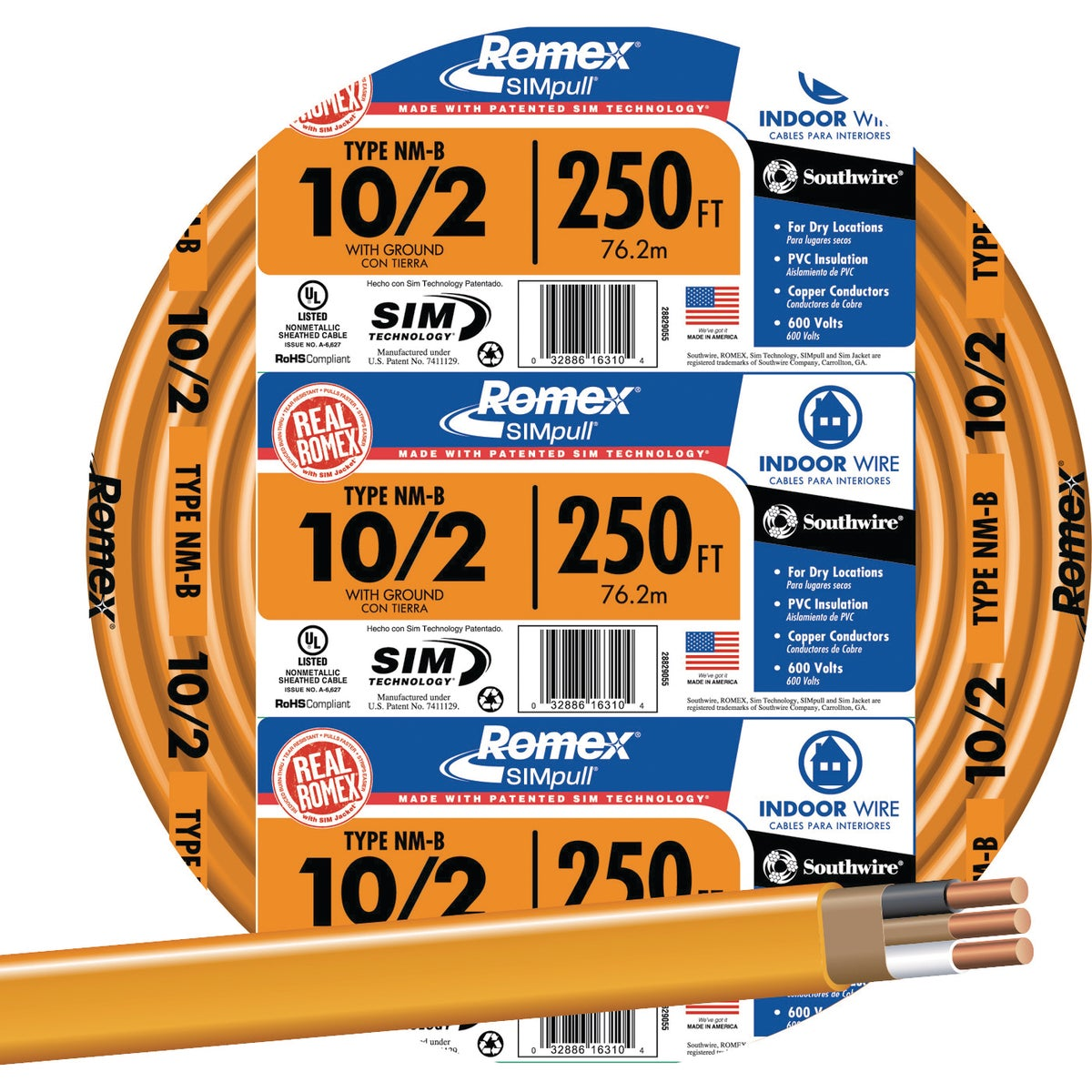 Southwire 250' 10-2 NMW/G WIRE 28829055