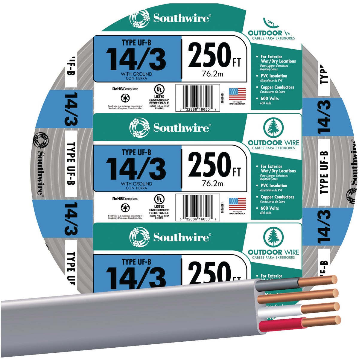 250' 14-3 UFW/G WIRE - 13057555 by Southwire Company