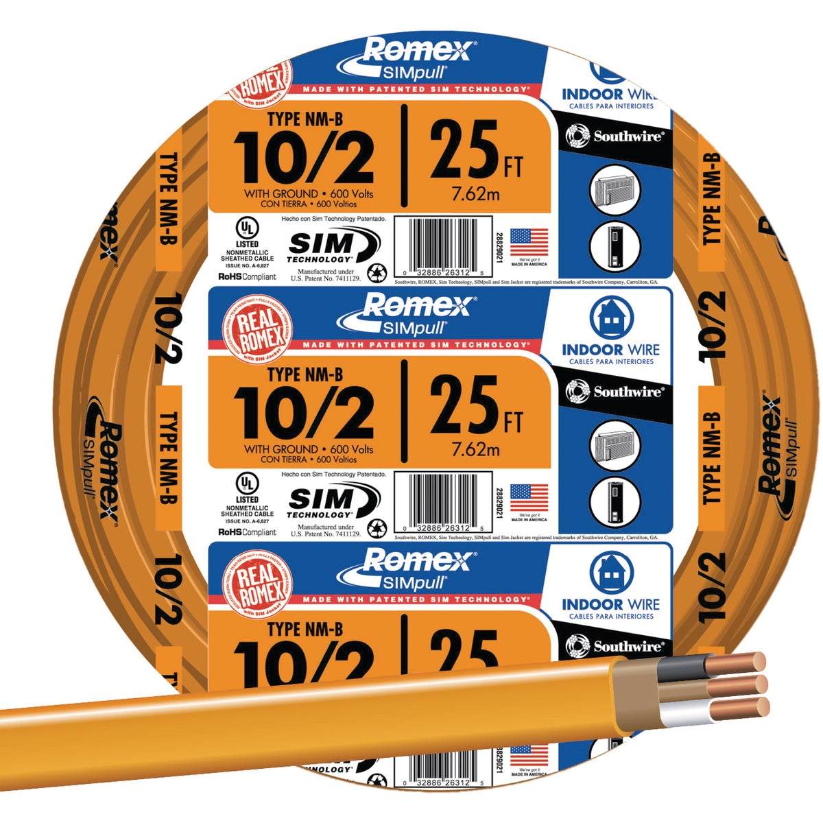 25' 10-2 NMW/G WIRE - 28829021 by Southwire Company