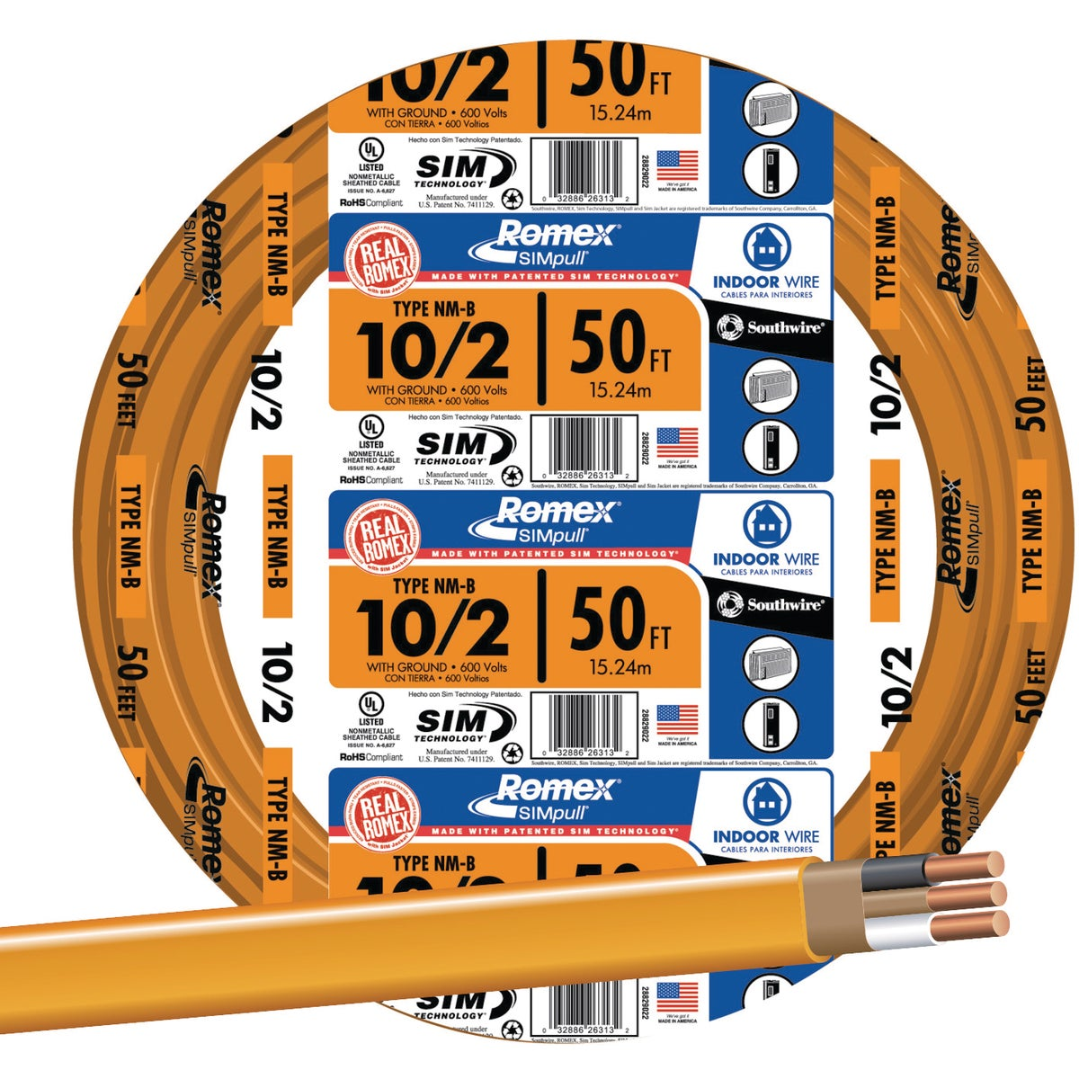 Southwire 50' 10-2 NMW/G WIRE 28829022