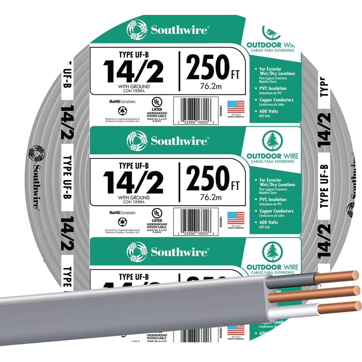 250' 14-2 UFW/G WIRE - 13054255 by Southwire Company