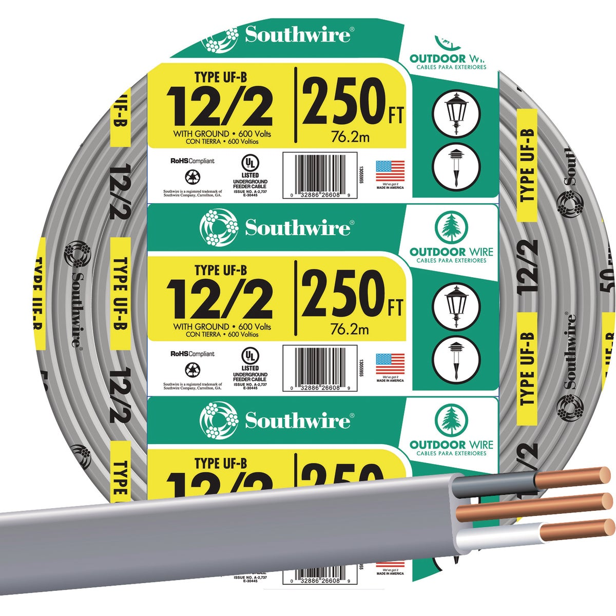 250' 12-2 UFW/G WIRE - 13055955 by Southwire Company