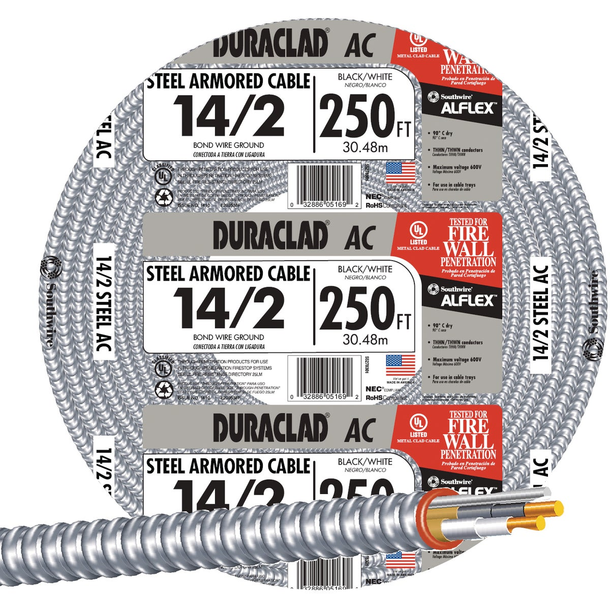 250' 14/2 Stl Armr Cable