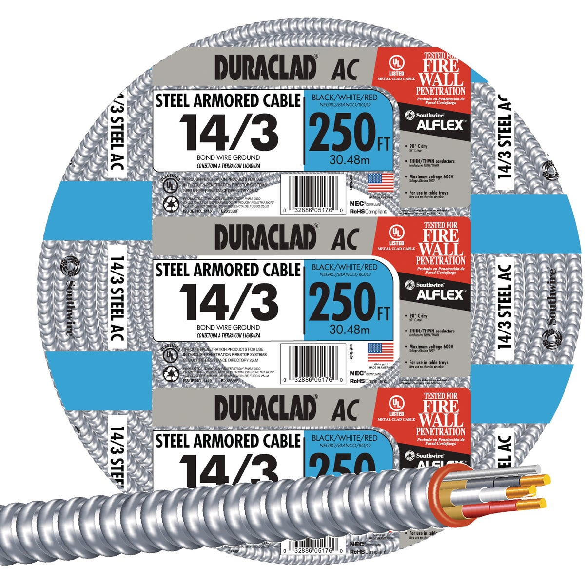 250' 14/3 Stl Armr Cable