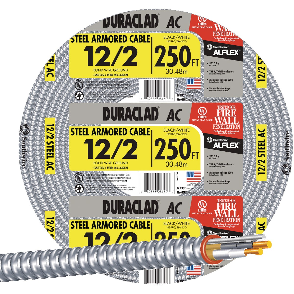 250' 12/2 Stl Armr Cable