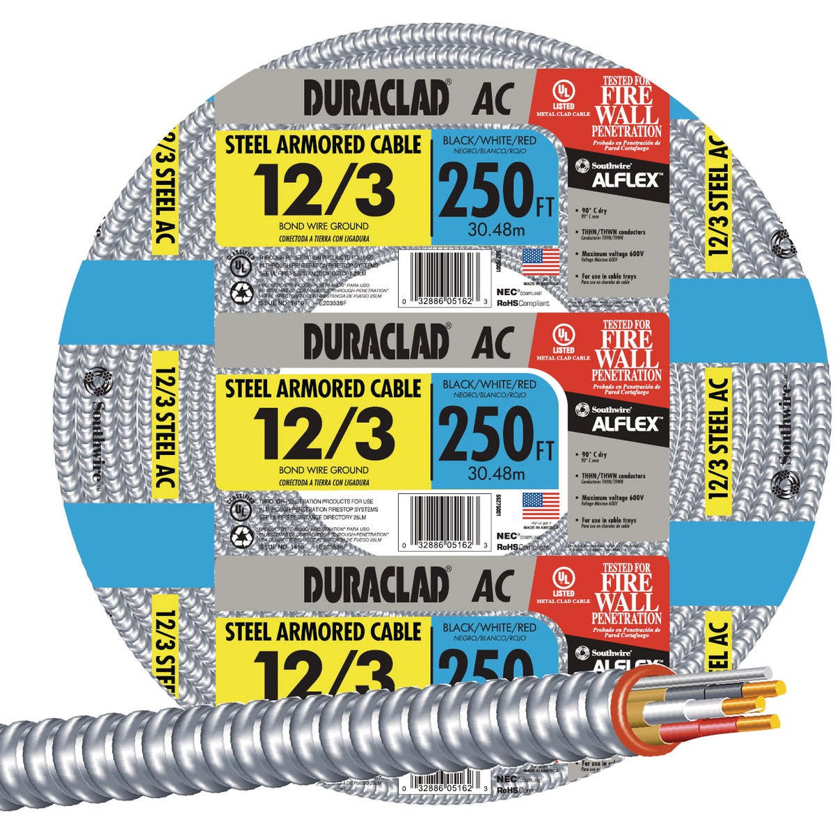 250' 12/3 STL ARMR CABLE - 55275001 by Southwire Company
