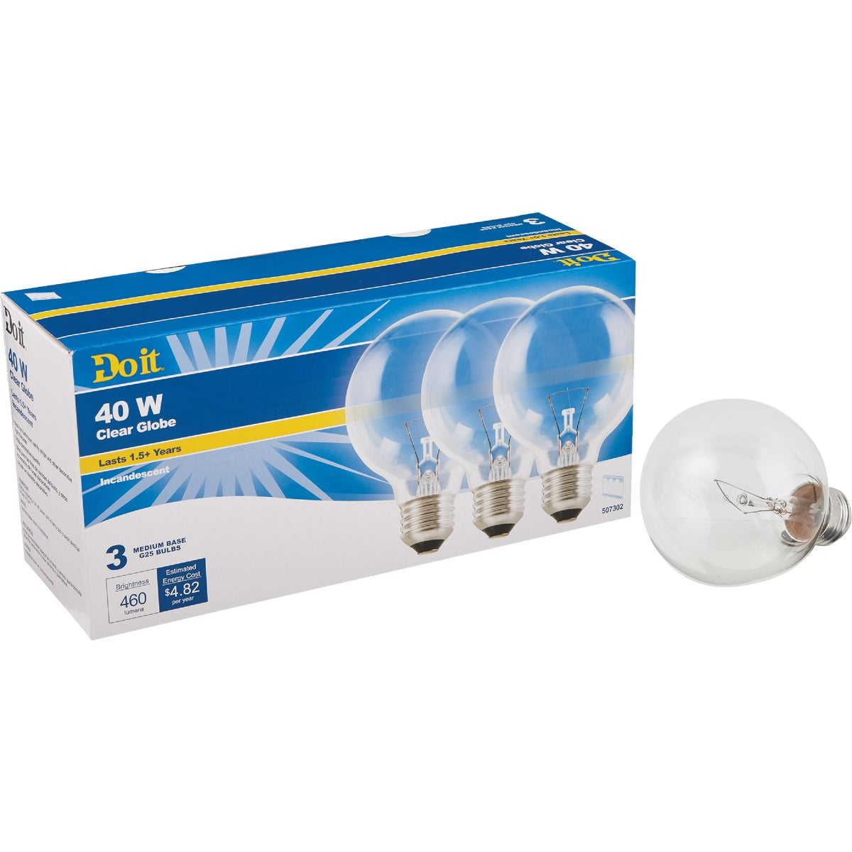 3PK 40W GLOBE BULB - 81611 by G E Private Label