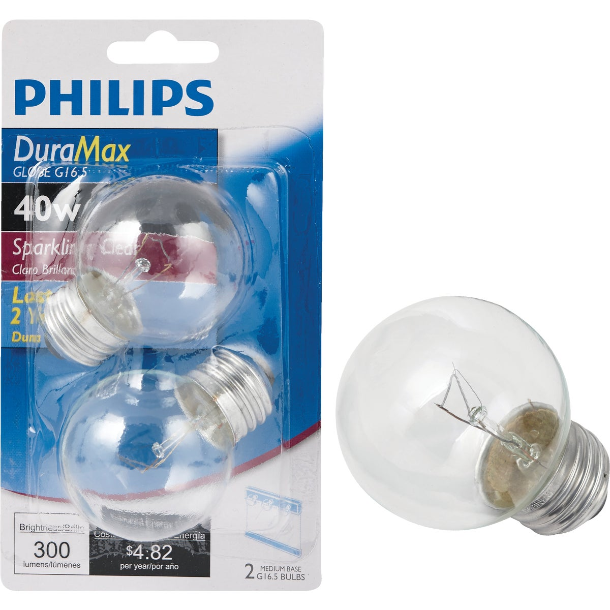 40W CLEAR GLOBE BULB - 31109 40GM/CL by G E Lighting