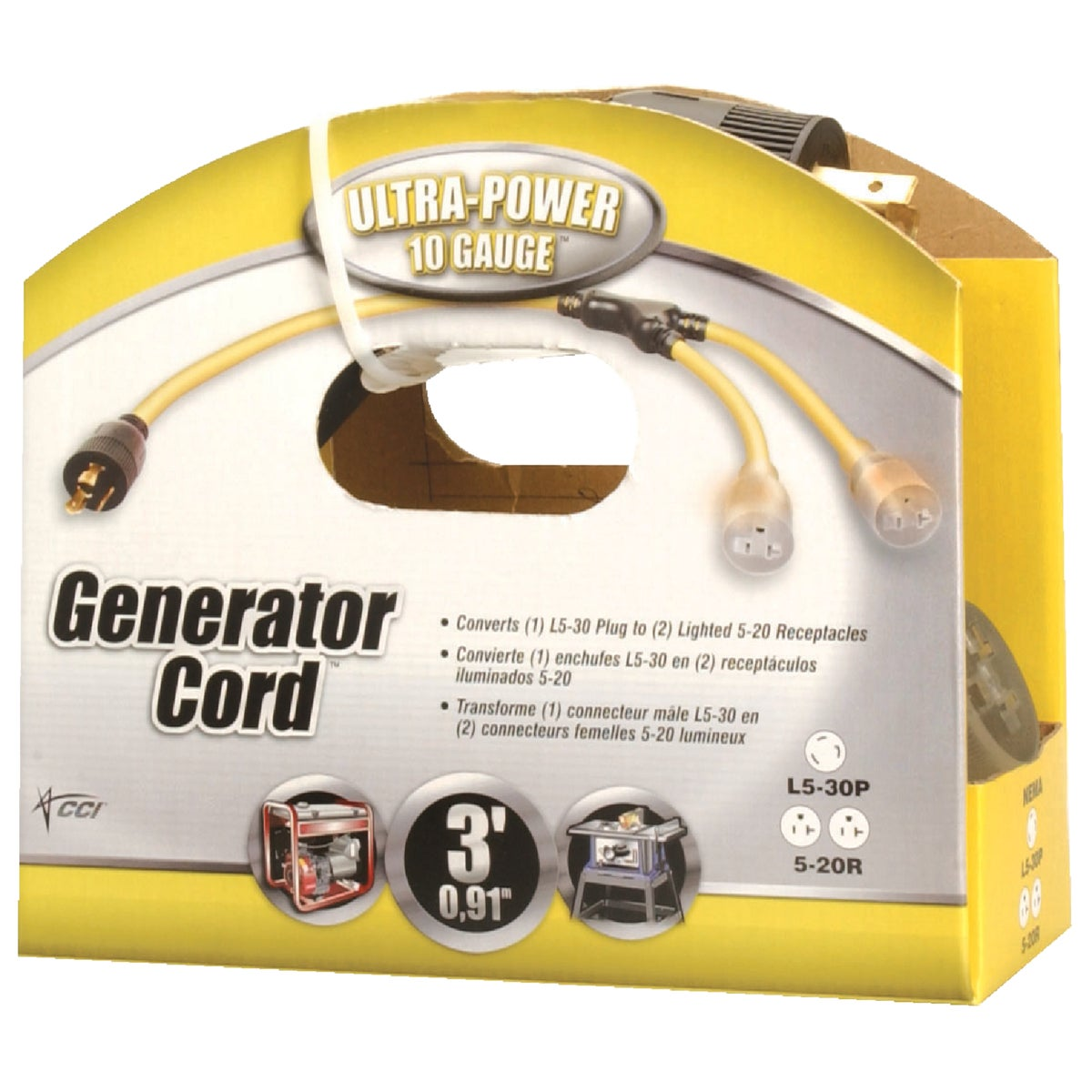 Coleman Cable Ultra-Power 3 Ft. 10/3 Generator Cord