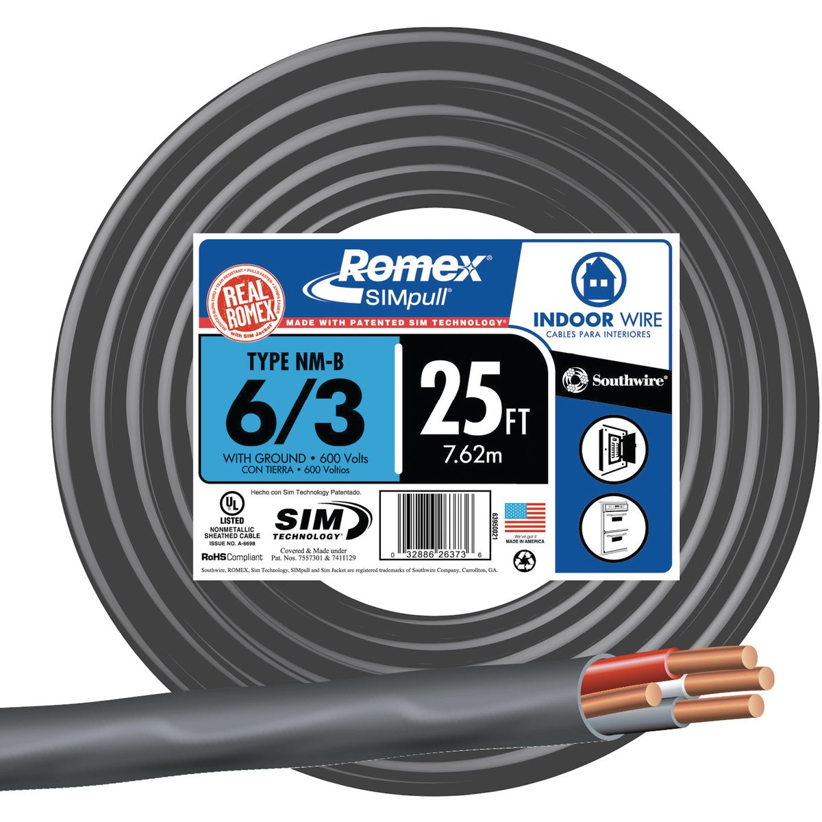 25' 6-3 NMW/G WIRE - 63950021 by Southwire Company