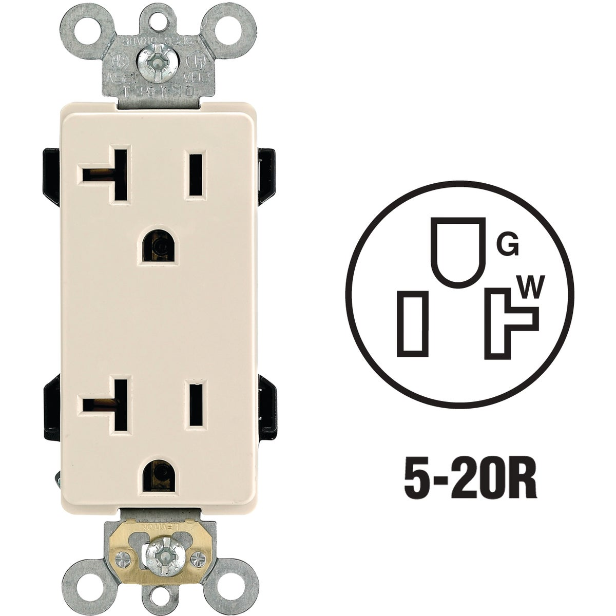 LT ALM DUPLEX OUTLET - R66-16352-OTS by Leviton Mfg Co