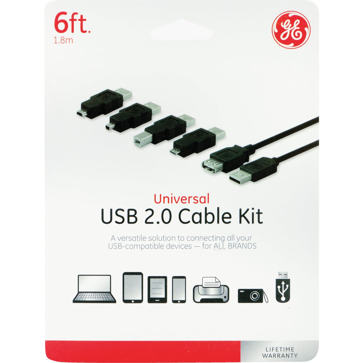 6' 6IN1 USB2.0 CABLE KIT - 98152 by Jasco Products Co