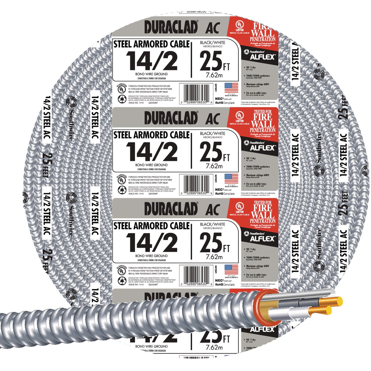25' 14/2 Stl Armor Cable