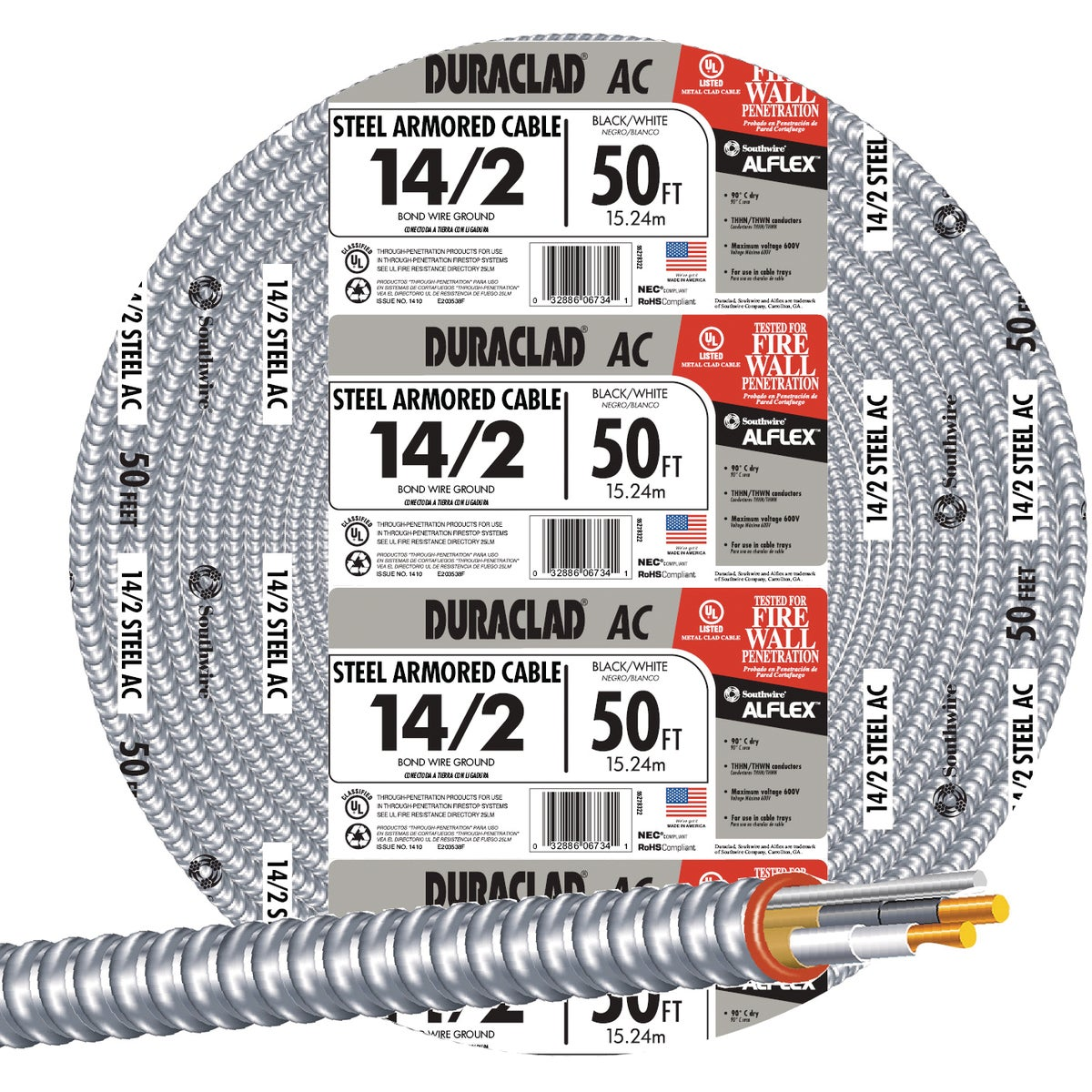 50' 14/2 STL ARMOR CABLE