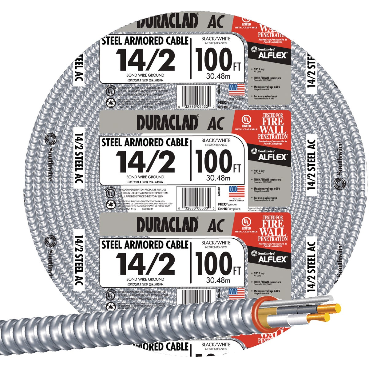 100' 14/2 STL ARMR CABLE