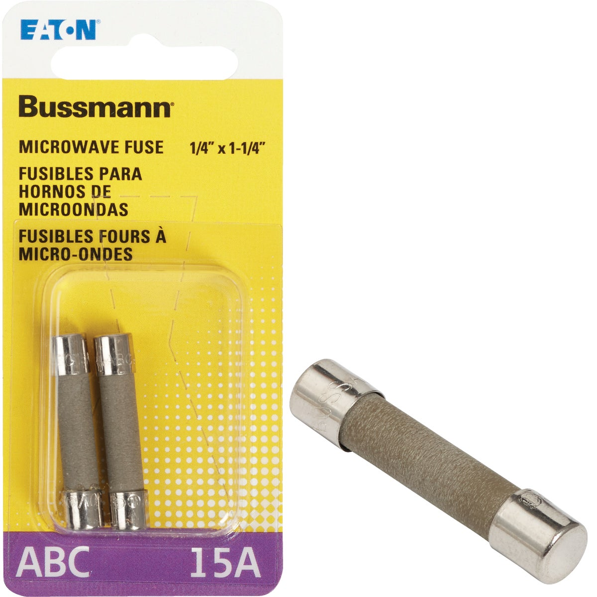 Bussmann 15A ABC Ceramic Tube Electronic Fuse (2-Pack)