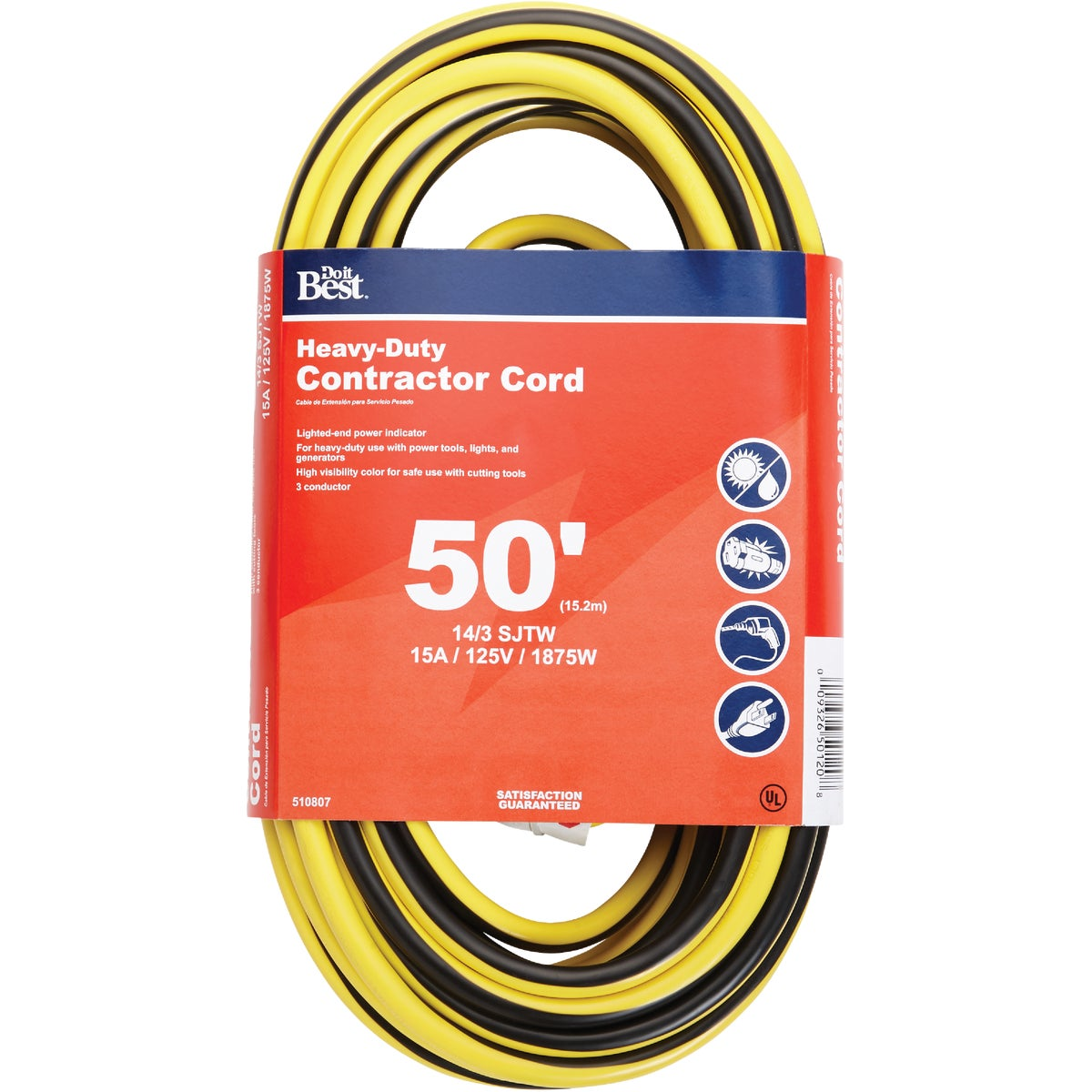 50' 14/3 LIGHTED CORD