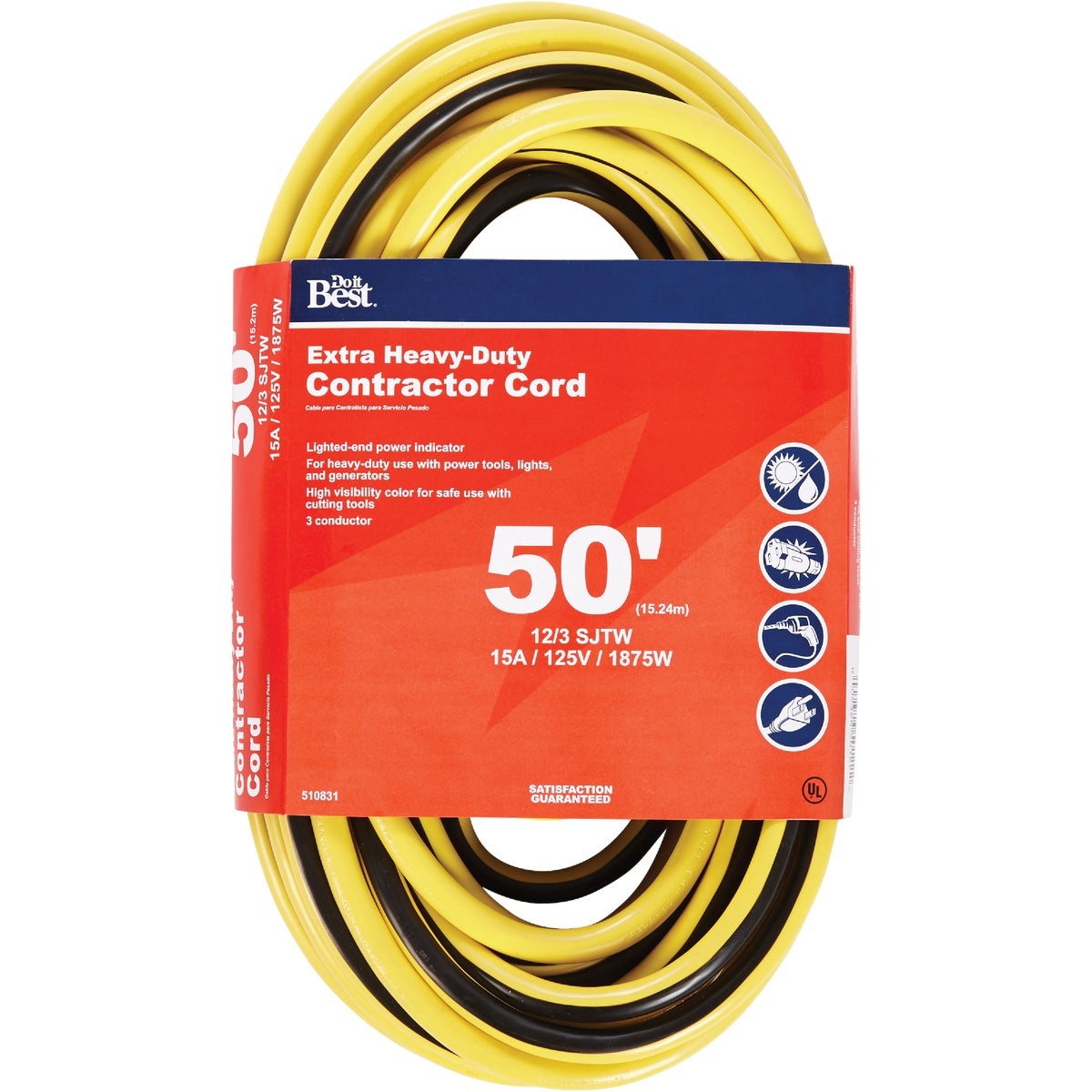 50' 12/3 LIGHTED CORD - 553055 by Coleman Cable Hwg