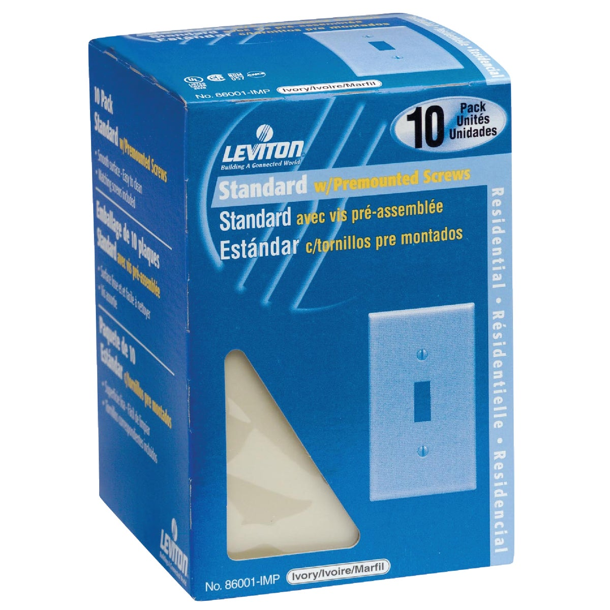 10PK IV 1TGL SWITCHPLATE - M25-86001-IMP by Leviton Mfg Co