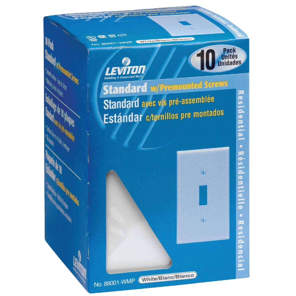 10PK WH 1-TOG PLATE - M24-88001-WMP by Leviton Mfg Co