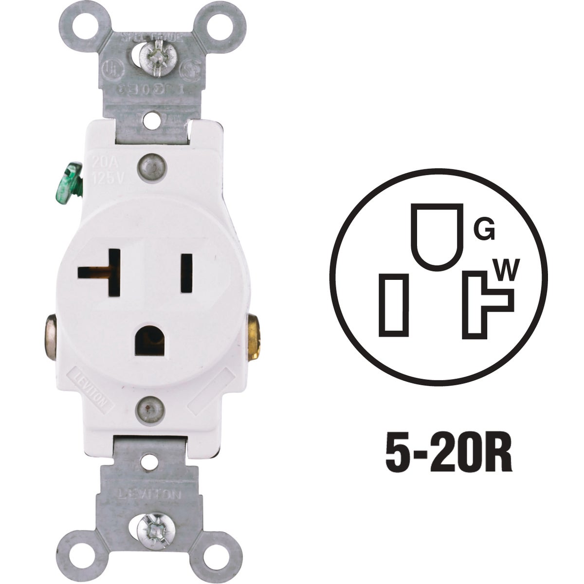 WHT SINGLE OUTLET - S02-5801-KWS by Leviton Mfg Co